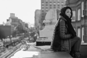 Using a small aperture to explore depth of field with Amanda on a rooftop in Boston, on February 24.