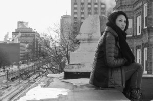 Using a big aperture to explore depth of field with Amanda on a rooftop in Boston, on February 24.